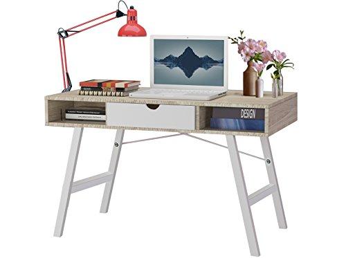 Schreibtisch Arbeitstisch Bürotisch BELLA 120 x 76 cm im dänisch-skandinavischem Design mit 1 Schublade in weiß/eiche