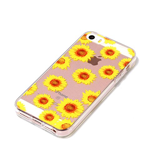 iPhone 5 Custodia, Cartoon Margherite - TPU Silicone Trasparente Nuovo Gel Soft Case iPhone 5 SE 5S 5G Custodia durevole Cartoon Cover, Prova di scossa anti-graffio # # 6