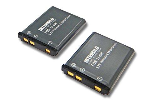 INTENSILO 2X Li-Ion Akku 700mAh (3.7V) für Kamera Camcorder Fuji/Fujifilm FinePix XP130 wie Li-40, D-Li63, NP-80. Finepix Camcorder