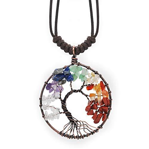 Abbyabbie.Li Halskette Baum des Lebens Anhänger personalisiert 7 Chakra Edelstein Kristall Halskette Multicolor einstellbar Stein Kette Schmuck (Runde, 5,2 * 5,2 cm / 2,05 * 2,05 Zoll)