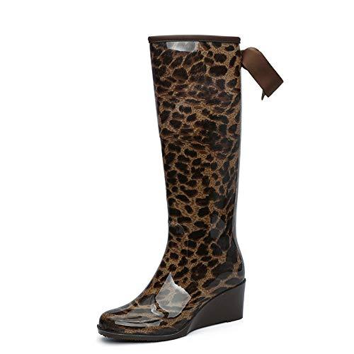 Para Botas De Lluvia Para Mujer,Impresión De Leopardo Zapatos De Tacón De Cuña Zipper Bow Simple Moda Mujer Zapatos De Agua Impermeable Antideslizante Retro Wellington Wild Resistentes Al Desgaste
