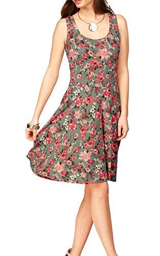 Uniquestyle Damen Ärmelloses Beiläufiges Strandkleid Sommerkleid Tank Kleid Ausgestelltes Trägerkleid Knielang (Floral, S) Floral Sommer Tank Kleid