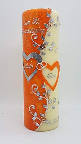 Kerze zum Hochzeitstag HZT-01 inkl. Namen, Datum und Jahreszahl, in verschiedenen Farben