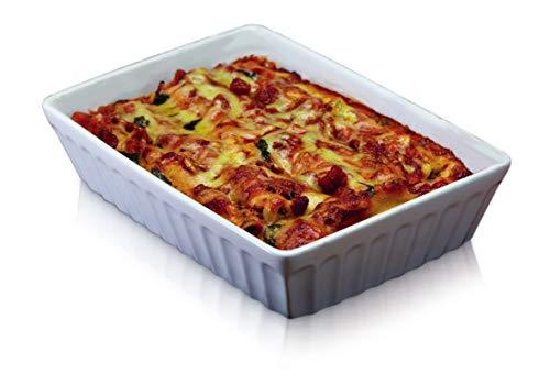 KitchenCraft World of Flavours Lasagne Dish, Stoneware, White, 30 x 21 cm