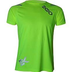 CAMISETA EKEKO T RACE DE MANGA CORTA PARA HOMBRE, running, atletismo, y deportes en general. (L, AMARILLO FL)