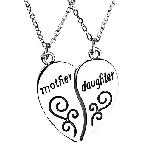 Bling estrellas del Día de la Madre Regalos de hija Madre Hija Collar con Colgante de dos piezas