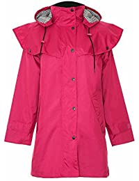 Ladies 3/4 Mid Length Waterproof Riding Rain Jacket Country Coat with Cape New