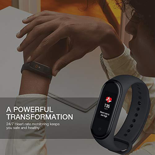 Xiaomi Band 4 Fitness Tracker 0.95 Pulgadas Color AMOLED Pantalla Monitor de Ritmo Cardíaco 50M Rastreador de Actividad Resistente al Agua Pulsera Inteligente 2019 Negro, e-Commerce, 21.6 mm