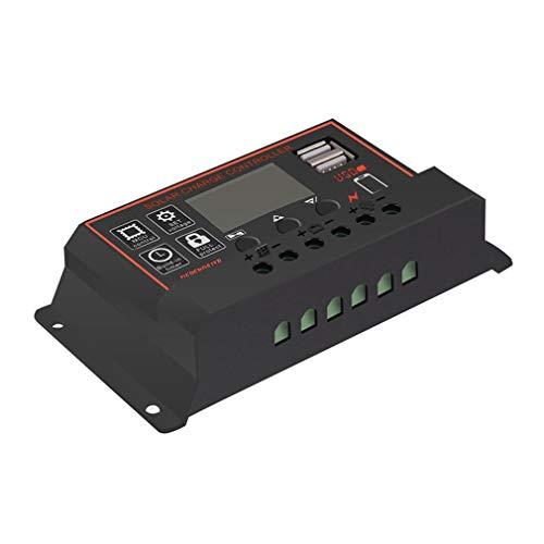 10/20/30/40/50 / 60A Ampere 12V / 24V Solarpanel Laderegler Batterieregler Dual USB - Schwarz