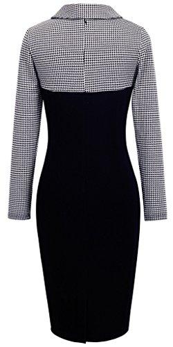 HOMEYEE - Robe - Moulante - Manches Longues - Femme B238 Blanc