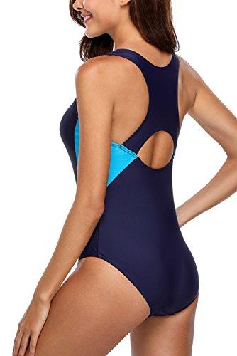 CharmLeaks Damen Einteiliger Sport Badeanzug Essential Endurance Schwimmanzug Basic Dunkelblau #