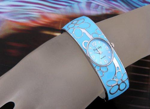 Skyllc® 20mm patrón de flores retro oval de metal del reloj del brazalete de la pulsera del reloj reloj de las mujeres Azul