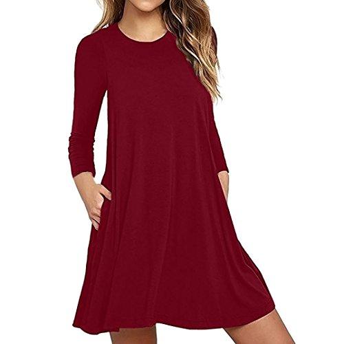 auen Langarm Tasche beiläufige lose Kleid Nachtwäsche Nachthemden (XXL/44, Rot) (Polyester Nachthemd)