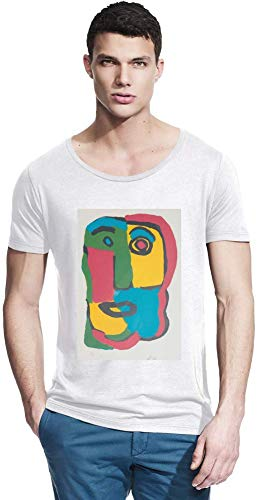 Wide Neck Tee (Top Paintings of All Time Hans (Jean) ARP - Unknown Painting Men Bamboo Wide Neck T-Shirt Stylish Fashion Fit Custom Apparel by Small)