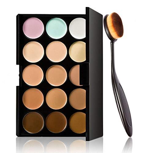 GEESENSS 15 Couleurs Maquillage Teint Femme Kit de Contouring Palette de Correcteur Palette Contouring Concealer Cream Contour avec Pinceaux Visage