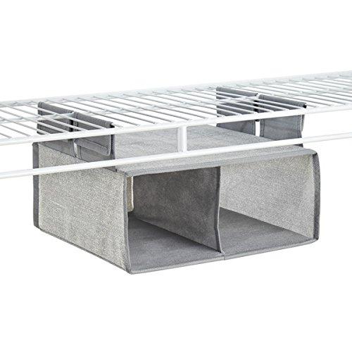 Mdesign organizzatore armadio in tessuto, mensola per scaffalatura a filo - 2 vani, grigio