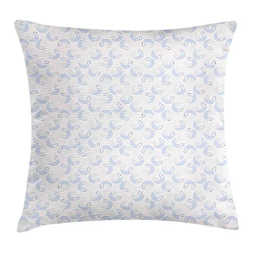 HLKPE Swans Throw Pillow Cushion Cover, Continuous Gracious Aquatic Birds Pattern on a Pastel Background, Decorative Square Accent Pillow Case, Baby Blue and Burnt Orange,26 X 26 Inches Ut Burnt Orange