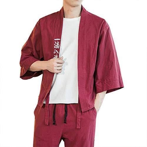 ZODOF camisa hombre Cárdigan camisa estampada lino seda Suelto Chaqueta Capa Baggy Tops Summer camisas manga larga hombre Moda para hombre(L,Vino)