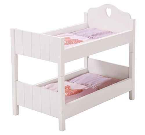 Cama de muñecas roba, coleccion de muebles para muñecas 'Fairytale', cama de muñecas divisible, lacada en blanco, accesorios para muñecas con textiles.