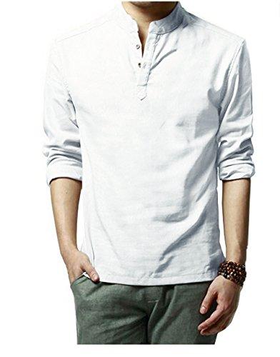 HOEREV Marke Men Casual Langarm-Leinen Shirts Strand-Hemden Weiß