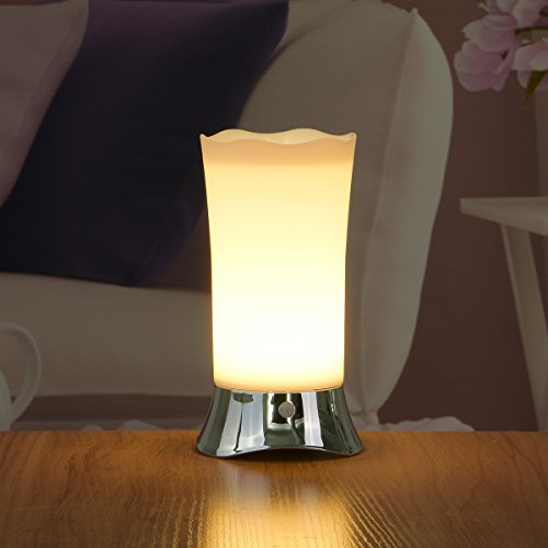 ZEEFO Lámparas de Mesa con Sensor Inalámbrico de Movimiento PIR, Luz de Nocheplata