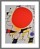 Joan Miro Poster Bild Kunstdruck rote Sonne 50x40cm mit Alu Rahmen in Champagne