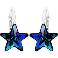 "Royal Crystals""Made with Swarovski Elements"" Sterling Silver Small Blue Star Leverback Earrings"