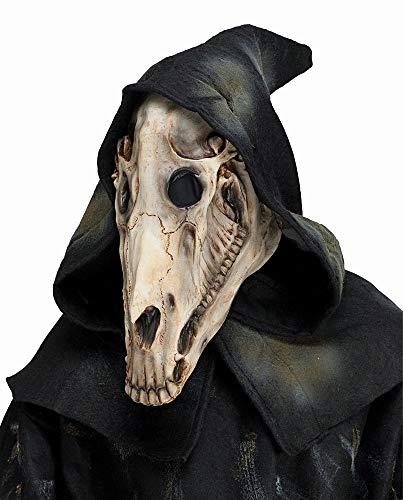 shoperama Latex Maske dämonischer Schädel Pferd Kapuze Pferde-Kopf Halloween Horror Dämon Skull Totenkopf Gevatter Tod Apocalypse
