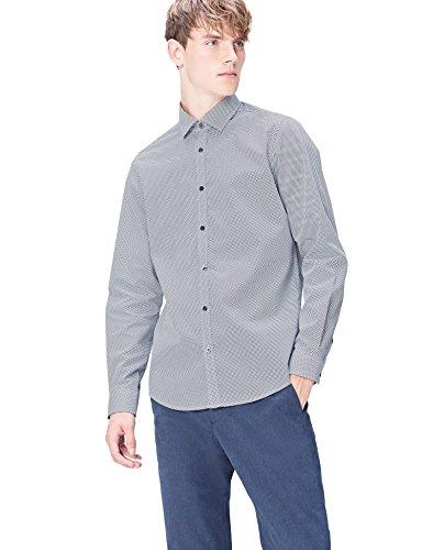 Find. camicia a quadretti slim fit uomo, blu (navy geo), x-large