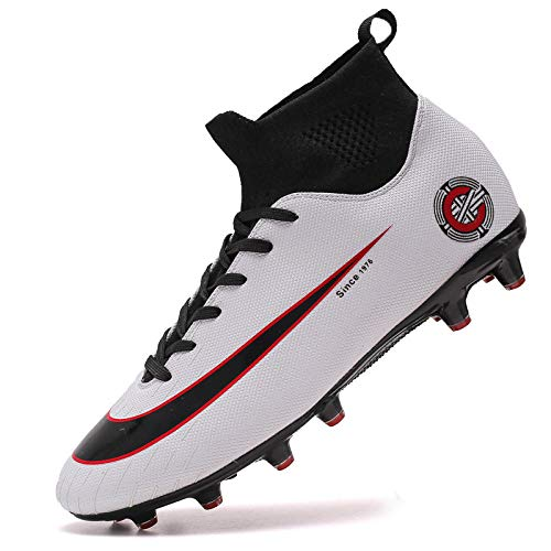 Scarpe da Calcio per Adulti Scarpe da Allenamento Antiscivolo per Esterno Antiscivolo Scarpe da Ginnastica Bianche 44
