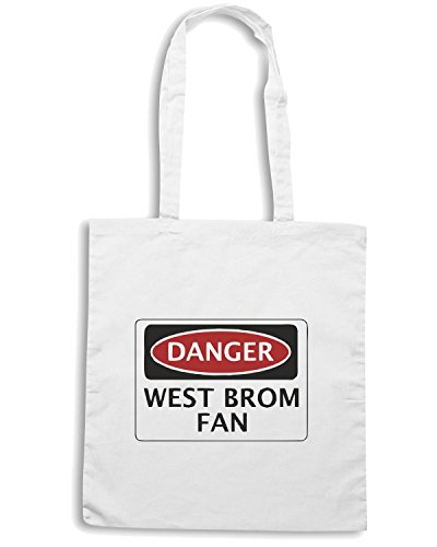 T-Shirtshock - Borsa Shopping WC0315 DANGER WEST BROMWICH ALBION, WEST BROM FAN, FOOTBALL FUNNY FAKE SAFETY SIGN Bianco
