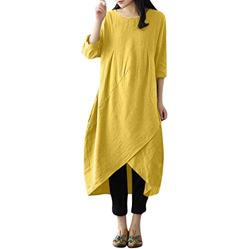 MRULIC Maxi Dress Womens Vintage Lange Tunika Baggy Long Plus Size Leinentuch religiöse Feiertag Kostüm(D-Gelb,EU-44-48/CN-2XL)
