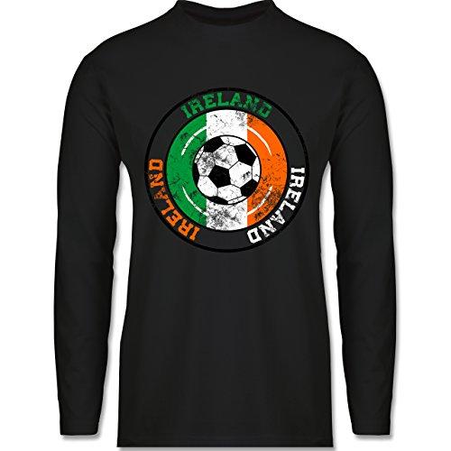 Shirtracer Fußball - Ireland Kreis & Fußball Vintage - Herren Langarmshirt Schwarz