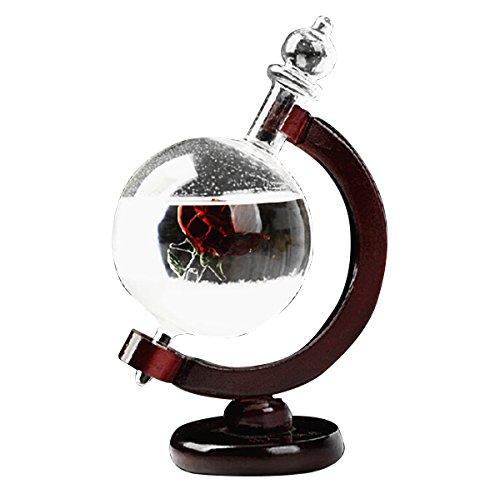 Vococal - Storm Glass, Creative Stylish Crystal Storm vetro desktop Crafts previsioni meteo Storm previsione bottiglia con base di legno regali per la decorazione Regalo