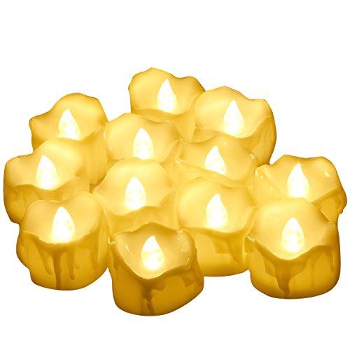 Criacr LED Kerzen, 12er Led Teelichter mit Timer, Flammenlose Kerzen, 6 Stunden EIN / 18 Stunden Aus, Elektrisch Teelichter für Weihnachten, Wohnaccessoires, Bars, Hotels, Partys, Warmes Weiß