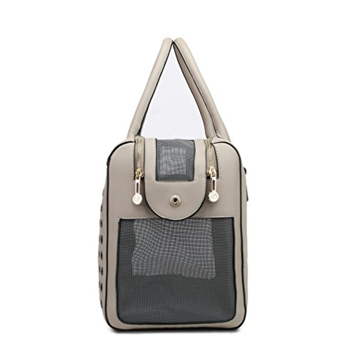 YOUJIA Pet Carrier Handbag Breathable Dog Tote Bag Soft PU Leather Travel Purse for Little Pet (Gray, 40 * 19 * 28cm) 3