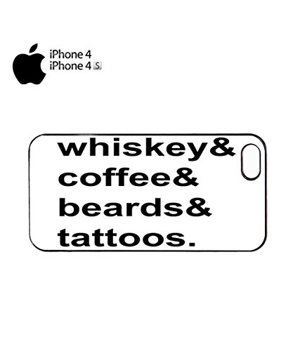 Whiskey Coffee Beards Tattoos Mobile Phone Case Back Cover Coque Housse Etui Noir Blanc pour for iPhone 6 Black Noir