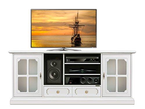 TV-Lowboard mit Schubkasten mit Schubkaden und Türen Lowbaord TV NEU im klassischen italienischen Stil für Wohnzimmer und Wohnwand, solide Struktur aus Massivholz