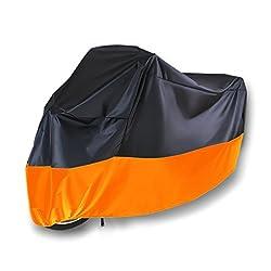 Motorradabdeckung, Lnkey Motorradgarage Winterfest Wasserdicht,Motorrad Garage Abdeckplane Plane Faltgarage Schutz hülle Cover mit Tasche, XL Schwarz und Orange (245 X 105 X 125 CM)