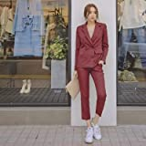 LXFWT Blazer Doppiopetto a Righe Autunnali Tailleur da Ufficio Elegante Quattro Colori Pantaloni Tailleur Set Due Pezzi XL Rosso Vittoria