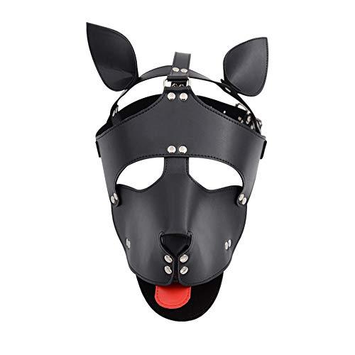 XDXDO Sexy Cosplay Puppy Mask, PU Leder Puppy Hood Benutzerdefinierte Tierkopf Maske Neuheit Kostüm Hund Kopf Masken für Halloween Maskerade Kostüm Party,Black (Benutzerdefinierte Leder Kostüm)