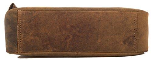 LEABAGS Los Angeles Umhängetasche aus echtem Büffel-Leder im Vintage Look - Braun Braun