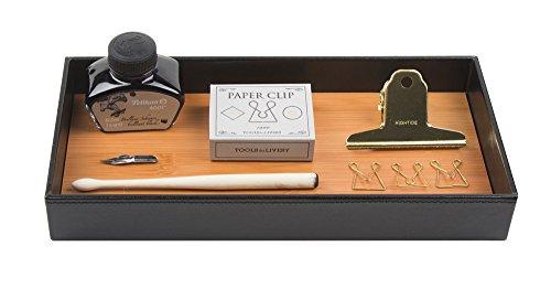 Jackcubedesign portaoggetti in vassoi di bambù in pelle vassoio di immagazzinaggio cosmetico organizzatore di cancelleria completo per chiavi, telefono, portafogli, monete, gioielli e altro (nero, 30,5 x 13,7 x 4,1 cm) -: mk205a