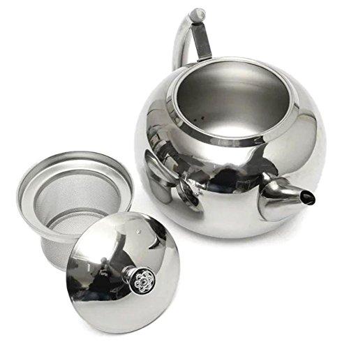 Todaytop Edelstahl Teekanne mit Siebeinsatz spülmaschinenfest Kaffeekanne ,2L