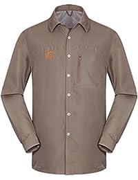 emansmoer Chaqueta Transpirable Malla de secado rápido camisa de manga  larga Comfort Camping Pesca Camiseta c8ce1556b9090