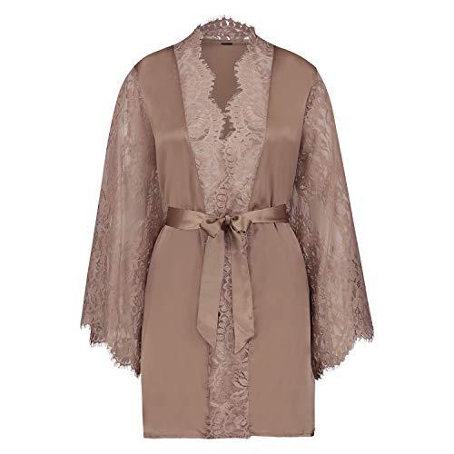 HUNKEMÖLLER Damen Kimono Satin Lace Rose XS/S