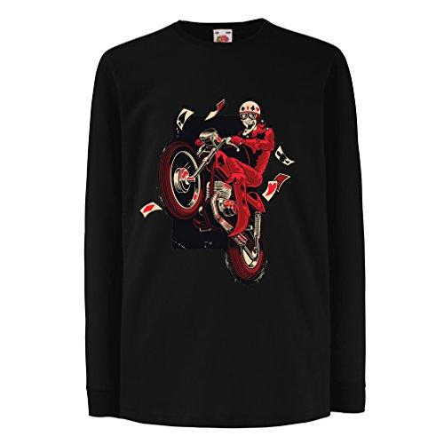 Kinder-T-Shirt mit langen Ärmeln Motorradbekleidung - Motorradfahrer T-shirt, Motorradzubehör - Vintage/Retro Design (Biker T-shirt) (3-4 years Schwarz Mehrfarben) (She Ra Kostüm Für Kinder)