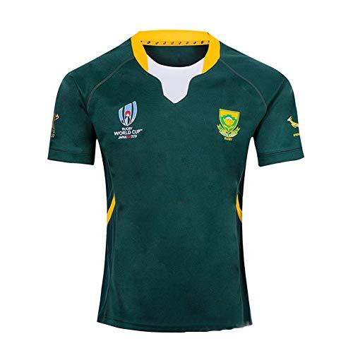 Rugby Jersey Fan T-Shirts South Africa Home/Away Hombres Deportes Secado rápido de Manga Corta World Cup Fútbol Americano Jerseys Sudáfrica Local/visitante,Green,XL/180-185CM