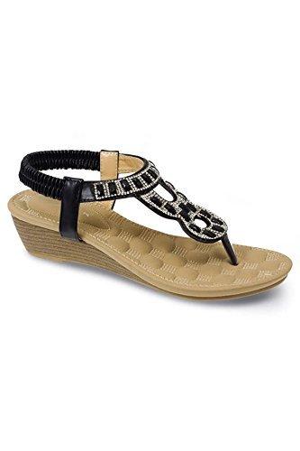 ZAFFIRO Boutique jlh878 ROBINSON donna sandali infradito comfort strass Gioielli Sandali con zeppa Nero