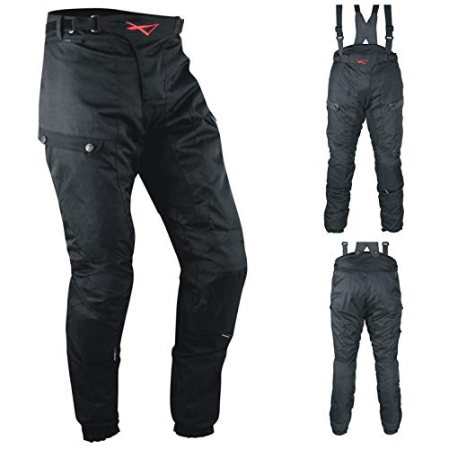 Pantaloni 3 Strati Moto Tessuto Cordura Impermeabile Sfoderabile Termico Uomo 32